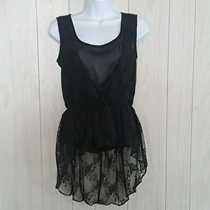 Alythea Sleeveless Lace High Low Blouse Top Small